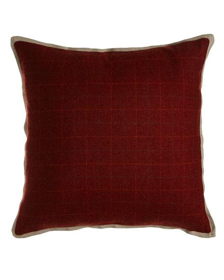 """New Castle Merlot Plaid Pillow, 20""""Sq."""