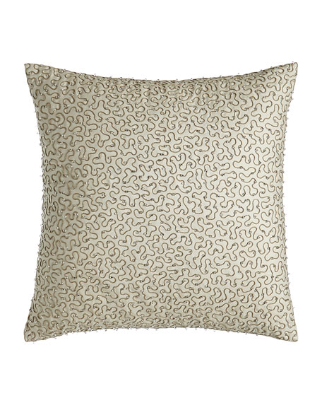 "Beaded Mirabell Pillow, 18""Sq."