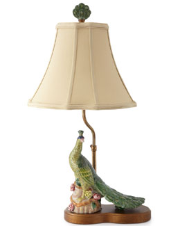 Left-Facing Peacock Table Lamp