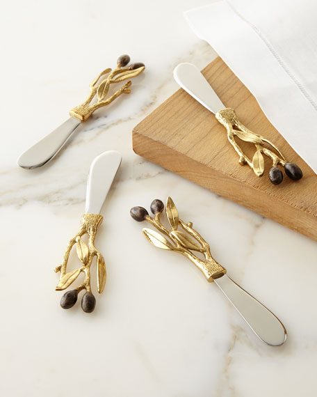 Olive Branch Gold Spreaders, Set of 4