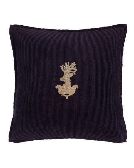 "Purple Inverness Stag-Head Pillow, 18""Sq."