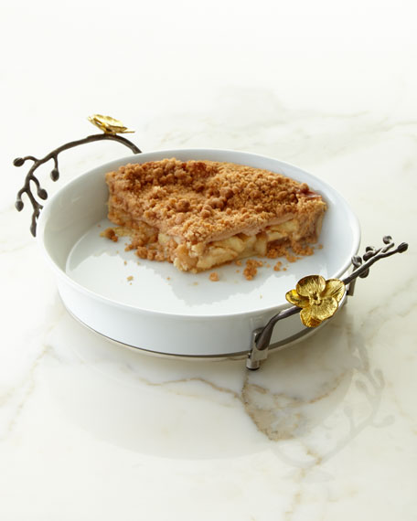 Gold Orchid Pie Dish
