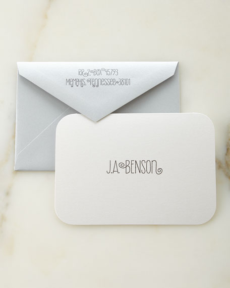 White Shimmer Personalized Cards with Plain Envelopes