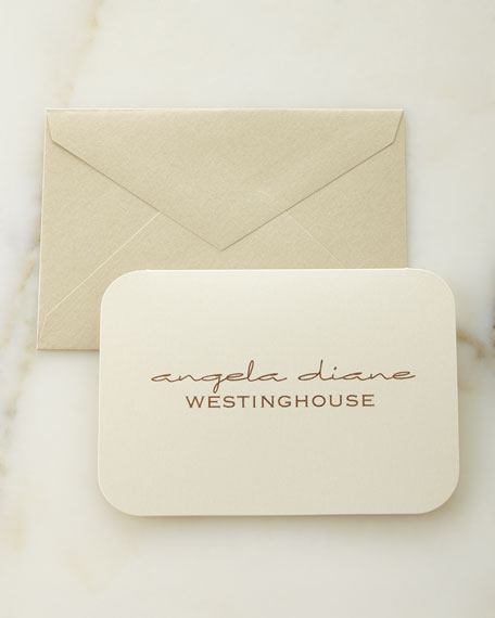 Ecru Shimmer Personalized Folded Notes with Plain Envelopes