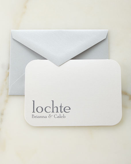 Slate Raised Ink Personalized Cards with Plain Envelopes