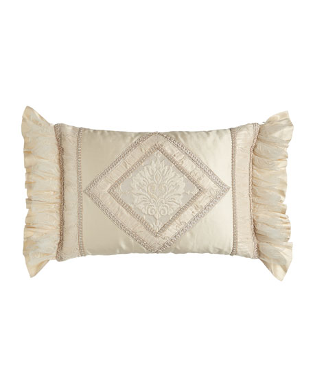 "Pieced Cameo Pillow with Diamond Center, 23"" x 15"""