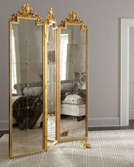 Gia three panel mirrored floor screen - Mirror screen ...