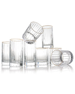 Avenue Gold-Rim Double Old-Fashioneds, Set of 4