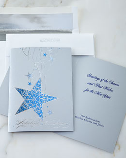 25 Hanging Blue Star Cards with Plain Envelopes