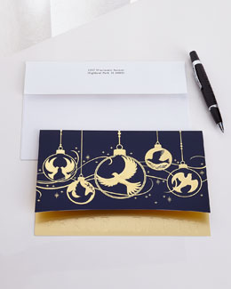 25 Dove Ornaments Cards with Plain Envelopes