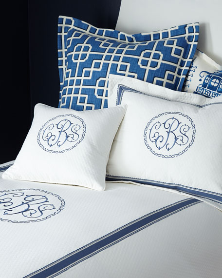 Queen Ascot Geo Coverlet with Monogram