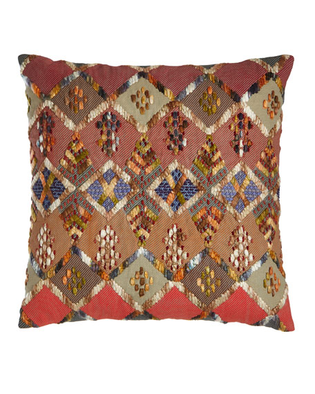 "Anatolia Embroidered Kenya Pillow, 20""Sq."