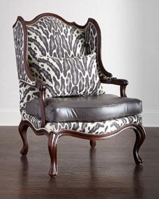 Massoud Zahara Leather Wing Chair