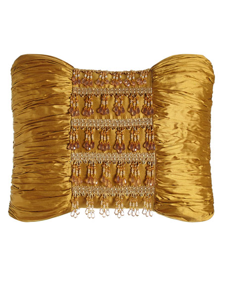 "Royale Gold Silk Pillow with Beads, 13"" x 18"""