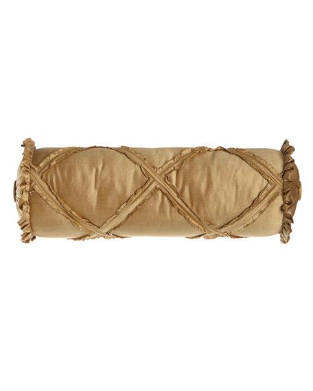 "Diamond-Lattice Neck Roll Pillow, 6"" x 20"""
