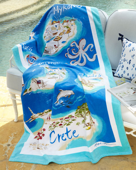 "Ralph Lauren Classic Towels: Ralph Lauren Home Greek Isles Beach Towel, 40"" X 70"""