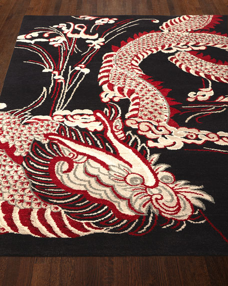 Black Dragon Rug, 5' x 7'