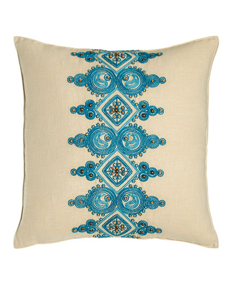Catalina Paisley Pillow with Blue Embroidery at Center,