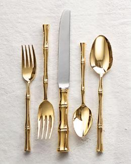 20-Piece Gold Bamboo Flatware Service