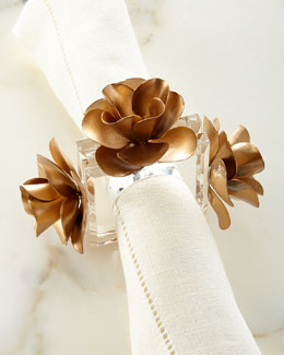 Golden Roses Napkin Rings, Set of 4