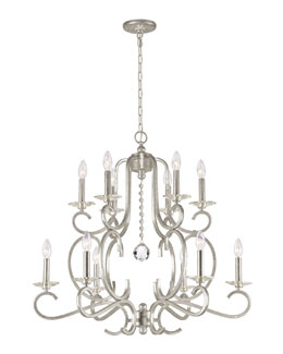 Crystorama Orleans 12-Light Silver Chandelier