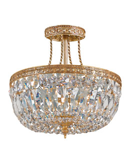 Crystorama Three-Light Clear Swarovski Brass Ceiling Mount