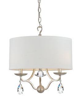 Crystorama Manning Three-Light Silver-Leaf Ceiling Mount