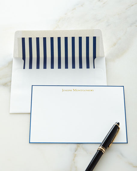 Correspondence Cards Hand Bordered in Navy with Plain