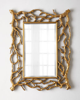 Golden Branch Rectangular Mirror