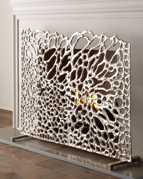 Organic Nickel Fireplace Screen