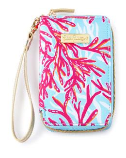 Coral-Print Tiki Palm iPhone 6 Wristlet
