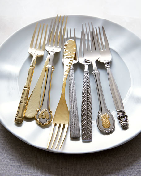 45-Piece Gold Napoleon Bee Flatware Service