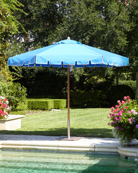 Blue Keyhole Valance Outdoor Market Umbrella