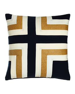 Navy Regents Cross Outdoor Pillow