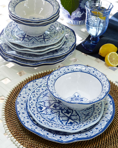 Talavera Azul Melamine Dinner Plates Set of 4 : blue and white melamine plates - Pezcame.Com