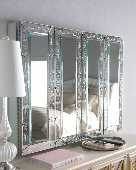 Venetian-Style Mirrored Flat-Screen-TV Wall Cabinet