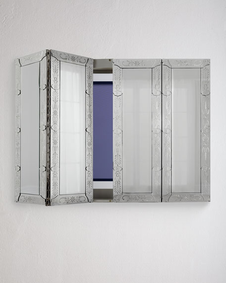 Wall mounted cabinet with glass doors