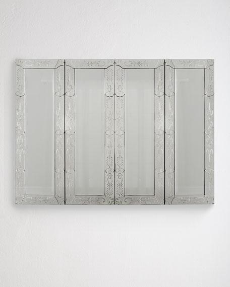 Venetian-Style Mirrored Flat-Screen-TV Wall Cabinet