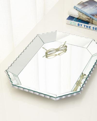 Scalloped-Edge Mirrored Tray
