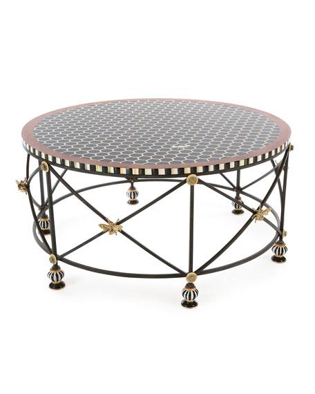 Gentil MacKenzie Childs Honeycomb Round Coffee Table