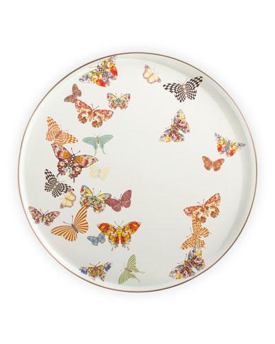 White Butterfly Garden Round Tray