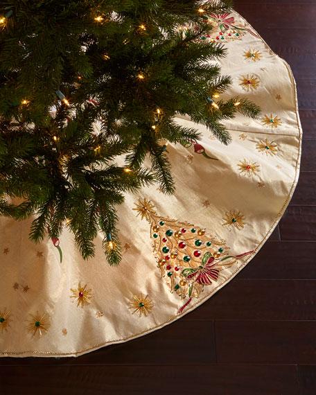 kim seybert retro christmas tree skirt - Vintage Christmas Tree Skirt
