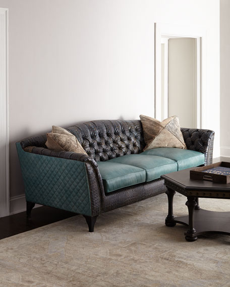 Old Hickory Tannery Trey Tufted Leather Sofa