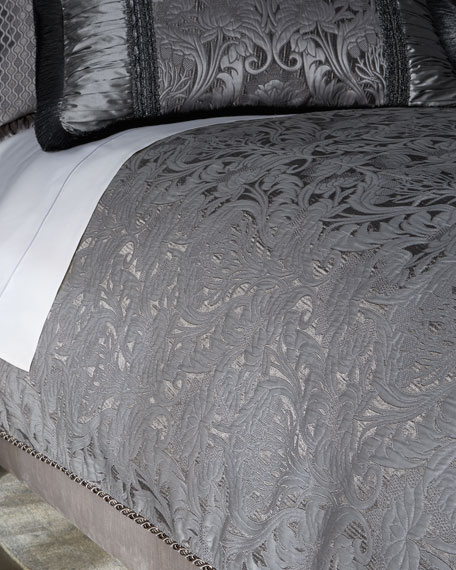 King Aviana Damask Plisse Duvet Cover