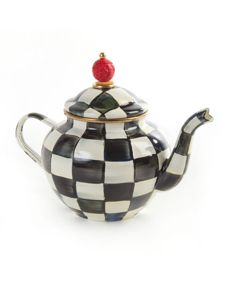 Courtly Check 4-Cup Enamel Teapot