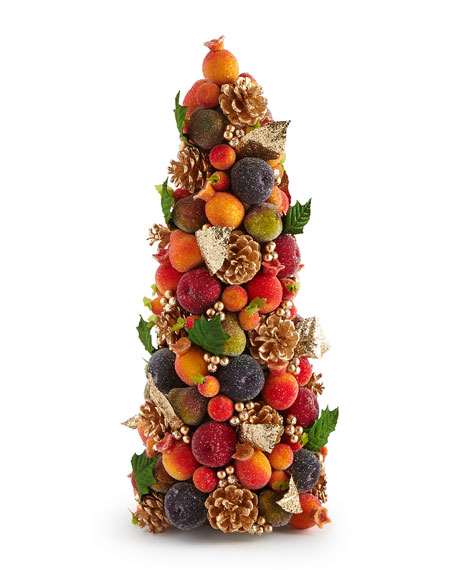 "Christmas Berry Tree Hawaii: Salzburg Creations Beaded Fruit 18"" Conical Tree"