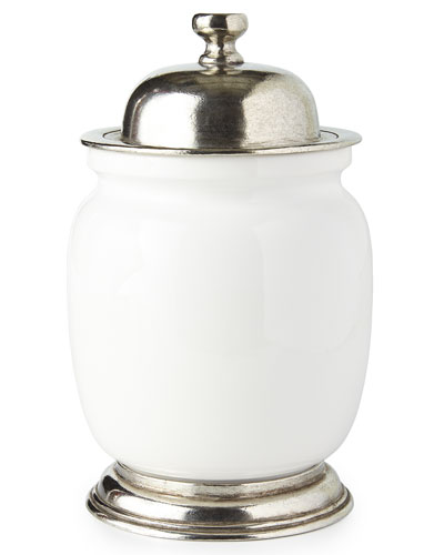 Medium Ceramic & Pewter Canister