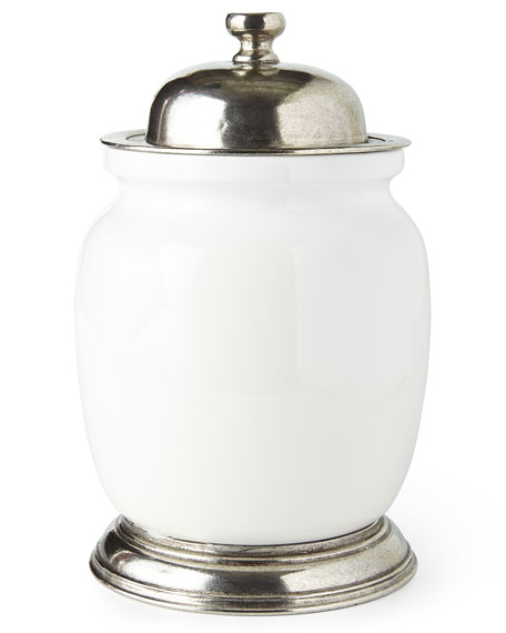 Large Ceramic & Pewter Canister