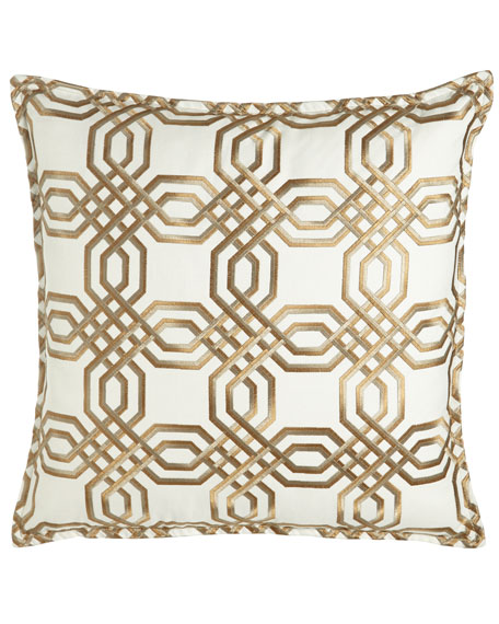 """Braedon Embroidered Pillow, 19""""Sq."""