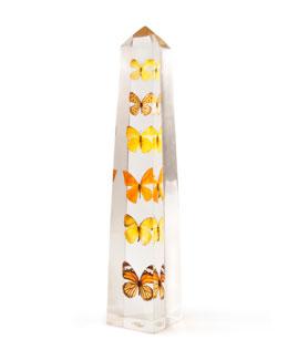 Lucite Butterfly Obelisk